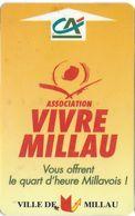 CARTE DE STATIONNEMENT BANDE MAGNÉTIQUE MILLAU 12 AVEYRON  ASSOCIATION VIVRE MILLAU - Francia