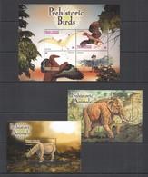 E605 GRENADA CARRIACOU FAUNA PREHISTORIC ANIMALS & BIRDS DINOSAURS !!! 2BL+KB MNH - Postzegels