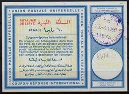 LIBYA / LIBYE Vi18 60 MILS International Reply Coupon Reponse Antwortschein IRC IAS o BENGHAZI 23.4.68 - Libia