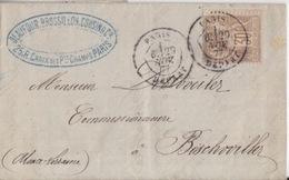 Lettre Obl. Paris Départ Sur 30c Sage Brun-clair (T I) = Tarif étranger Le 29 Nov 77 Pour Bischwiller (Alsace) - 1876-1878 Sage (Type I)
