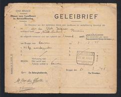 1945 GELEIBRIEF STAD BRUGGE DIENST VOOR LANDBOUW EN REVITAILLEERING VAN DER GHOTE 45 KG. AARDAPPELEN à LEUVEN - Historische Documenten