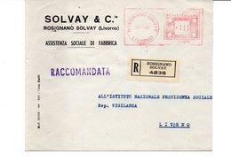 1962 EMA Affrancatura Meccanica Rossa Freistempel Rosignano Solvay Livorno Della Ditta SOLVAY & C. Per Produzione Soda - Marcophilie - EMA (Empreintes Machines)