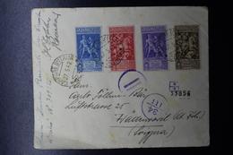 ITALY Registered Cover Como  27-5-1942  Sa 458 - 461 Censura Strip - Storia Postale