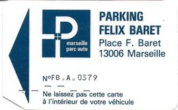 CARTE DE STATIONNEMENT BANDE MAGNÉTIQUE MARSEILLE 13 BOUCHES DU RHONE PARKING FELIX BARRET - Francia