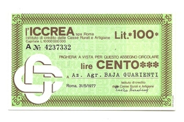 1977 - Italia - ICCREA - Az. Agr. Baja Guarienti - [10] Scheck Und Mini-Scheck