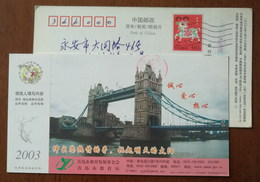 China 2003 Qingdao Education Foundation Advertising Pre-stamped Card London Tower Bridge - Bridges