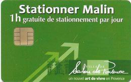 CARTE DE STATIONNEMENT A PUCE CHIP CARD SALON DE PROVENCE 13 BOUCHES DU RHONE  STATIONNER MALIN - Francia
