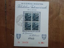 LUOGOTENENZA - Mostra Filatelica Con Quartina Perfin M.F.I.M. + Spese Postali - 5. 1944-46 Lieutenance & Umberto II