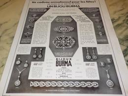 ANCIENNE PUBLICITE POUR LES FETES BIJOU DE  BURMA 1935 - Autres