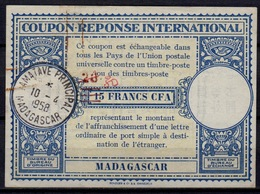 MADAGASCARLo15 ms. 30 / Handstamp 20 / 15 FRANCS CFAInt. Reply Coupon Reponse IRC Antwortschein O TAMATAVE 10.4.58 - Covers & Documents