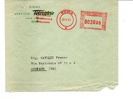 1963 EMA Affrancatura Meccanica Rossa Freistempel Roma CONI Su Busta Del Servizio Totocalcio Di Roma - Marcofilia - EMA ( Maquina De Huellas A Franquear)