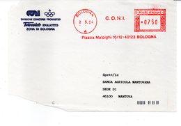 1994 EMA Affrancatura Meccanica Rossa Freistempel Bologna CONI Busta Servizio Totocalcio Enalotto Zona Bologna Fronte - Machine Stamps (ATM)