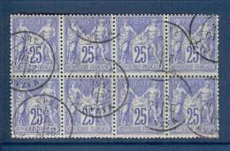 N° 78x8 SAGE 25c OUTREMER EN BLOC DE 8 OBLITERE TTB - 1876-1898 Sage (Tipo II)