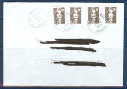N° 2824 X 2 + 2873 X 2 MARIANNE BRIAT 70c DENTELE ET NON DENTELE SUR LETTRE DE 1995 - Poststempel (Briefe)