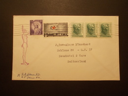 Marcophilie  Cachet Lettre Obliteration - Enveloppe USA Destination SUISSE  - 1964 - (1866) - Marcophilie