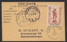 """Antituberculeux """"Les Métiers"""" (1943) - N°615 Sur Imprimé """"Club Philatel"""" Obl SC Treignes + Griffe à L'origine TREIGNES - Belgien"""