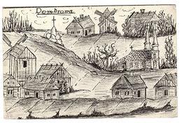 DOMBROWA - Dąbrowa Górnicza - Carte Avec Dessin De La Ville - FELDPOSTKARTE 1915 - Pologne