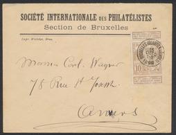 """Expositions - N°72 Sur Lettre """"S.I. Des Philatélistes"""" Obl Simple Cercle """"Bruxelles (Quartier Léopold)"""" Vers Anvers. - 1894-1896 Esposizioni"""