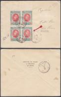BELGIQUE COB 132 BLOC DE 4 SUR LETTRE DENT 12X14 ET VARIETE BALAFRE VERS LA PANNE (BE) DC-6234 - 1914-1915 Rotes Kreuz
