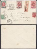 BELGIQUE COB 129/30+132/4 SUR LETTRE REC DU HAVRE 10/02/1915 VERS SAINT ADRESSE  (BE) DC-6235 - 1914-1915 Rotes Kreuz