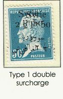 Syrie 147 Syrie  Pasteur 50 C Bleu  Type 1 Double Surcharge - Syrie (1919-1945)