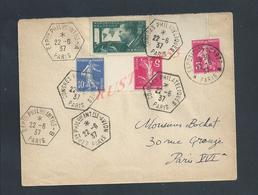 LETTRE SUR TIMBRES CONGRÉS PHILATELIQUES  & EXPOSITION DE 1937 PARIS : - Covers & Documents