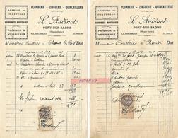 2 Factures 1/2 Format 1930-32 / 70 PORT SUR SAONE / L. AUDINOT Plomberie, Zinguerie, Quincaillerie - France
