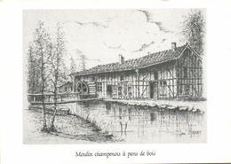 """Moulin Champenois à Pans De Bois """"dessin Original De Jean Harat"""" - France"""