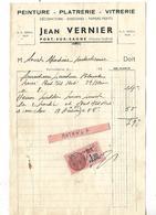 Facture 1/2 Format 1938 / 70 PORT SUR SAONE / Jean VERNIER / Peinture, Plâtrerie, Vitrerie - France