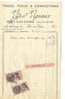Facture 1/2 Format 1938 / 70 PORT SUR SAONE / Victor VIGNAUX / Toiles, Tissus & Confections - France