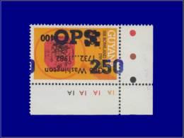 """U.P.U. - Année: 1984 - GUYANA,MIC. SERVICE 29,XX,SURCHARGE RENVERSEE """"OPS 250"""" R. Hill. - U.P.U."""