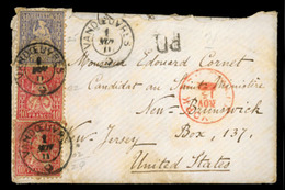 SWITZERLAND. 1871. Cover & Contents To USA From Vandoeuvres With 1867 2x10c And A 30c Tied By Neat Despatch Cds's, Black - Switzerland