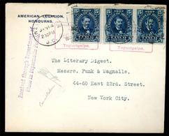 HONDURAS. 1919. Cover Via Diplomatic Bag To New York From US Legation In Honduras Franked By 1907 5c Blue Strip Of Three - Honduras