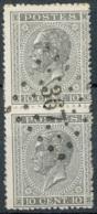 NB - [55185]SUP//O/Used-N° 17A En Paire Verticale Avec Obl Anormale Apposée Une Seule Fois 'LP367' Turnhout. Superbe - 1865-1866 Profil Gauche