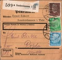 ! 1934 Paketkarte Deutsches Reich, Sondershausen Nach Roßla - Deutschland