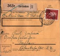 ! 1934 Paketkarte Deutsches Reich, Gertlauken über Laukischken, Ostpreußem Nach Gräfenhainichen - Allemagne