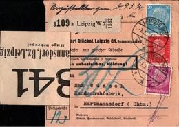 ! 1934 Paketkarte Deutsches Reich, Leipzig  Nach Hartmannsdorf - Germania