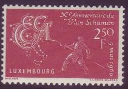 Luxemburgo 1960 Correo 578 ** 10 Aniversario Del Plan Schuman - Luxemburgo