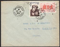 AOF Lettre D' ABIDJAN De Cote D'Ivoire Du 27 Septembre 1957 Via Paris - A.O.F. (1934-1959)