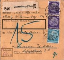 ! 1934  Paketkarte Deutsches Reich, Dannenberg Nach Crossen / Elster - Briefe U. Dokumente