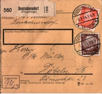 ! 1934  Paketkarte Deutsches Reich, Deutschneudorf Im Erzgebirge Nach Döbeln, Sachsen - Germania