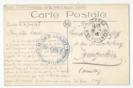 Marcophilie Cachet Lourdes Hopital Complémentaire N32 - 1918 Pour Montpellier - Postmark Collection (Covers)