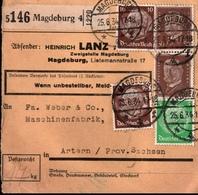 ! 1934  Paketkarte Deutsches Reich, Magdeburg ( Lanz Traktoren, Heinrich Lanz ) Nach Artern - Germania