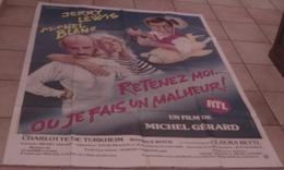 AFFICHE CINEMA ORIGINALE FILM RETENEZ MOI OU JE FAIS UN MALHEUR BLANC LEWIS Gérard 1984 DESSIN KALKI - Posters