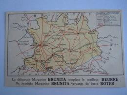 Géografische Kaart Carte Géographique Antwerpen Anvers Reclame Pub Margarine Brunita Is Geplakt Geweest - Non Classés
