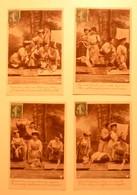 CPA / Lot De 4 Cartes Postales Anciennes / LESSIVE Lavandières Blanchisseuses / Série Lavandières Jolies - Farmers