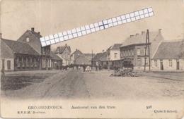 """GROBBENDONCK""""AANKOMST VAN DE STOOMTRAM""""CLICHE E.SCHREIJ - Grobbendonk"""