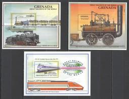 E702 GRENADA GRENADINES TRANSPORT TRAINS GREAT RAILWAYS OF THE WORLD 3BL MNH - Trains
