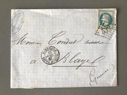 France N°29 Sur Lettre (GC 532) TAD BORDEAUX BOITE MOBILE 1867 - (B1910) - 1849-1876: Periodo Clásico