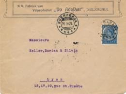 Nederlands Indië - 1909 - 12,5 Cent Veth Met JAVA Opdruk, Enkelfrankering Op Business Cover Van Soerabaja Naar Lyon / Fr - Netherlands Indies